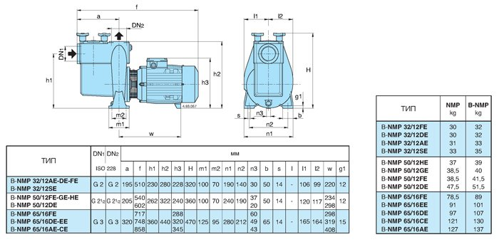 Размер и вес насосов Caldepa NMP